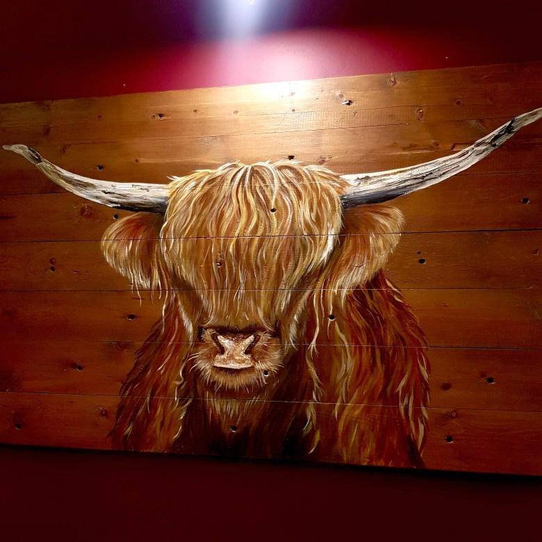 The Cross Kenilworth Michelin Star Restaurant Gastropub British Bull Painting