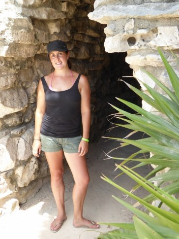 Hiding from the sun at Tulum