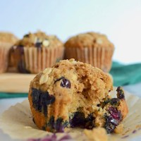 Whole Wheat Blueberry Oat Muffins