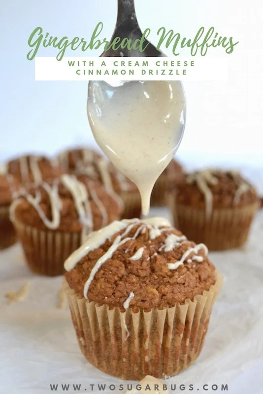 A healthier gingerbread muffin with a cream cheese cinnamon drizzle, packed with oats and bran to help keep you full and running through your busy morning. #twosugarbugs #gingerbread #healtiermuffins #breakfastisserved