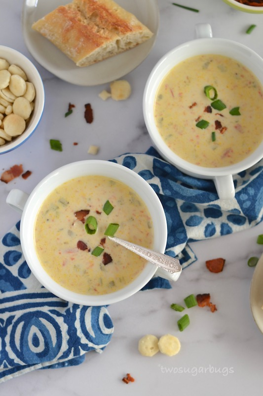 Daddy's Clam Chowder. This is the only clam chowder recipe you will ever need. It's easier to make than you think and so satisfying to eat. Packed with clams, bacon and vegetables, it's soon to be your family's favorite chowder. #twosugarbugs #clamchowder #easyrecipe #newenglandclamchowder