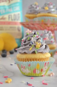 Cupcake with ingredients in the background