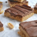 Peanut butter bar on parchment paper