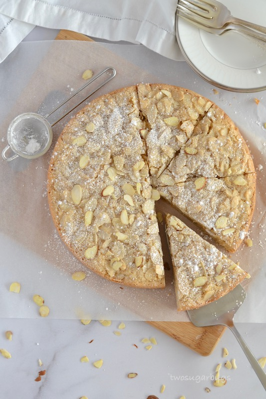 Crumbly Almond Cake ~ rustic simplicity at it's best! Perfect for Sunday dinner and even better the next day. Easy to make and sure to impress! #twosugarbugs #almondcake #italiandesserts #easyrecipe #brunch