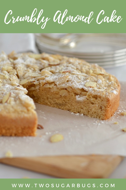 Pinterest image of crumbly almond cake
