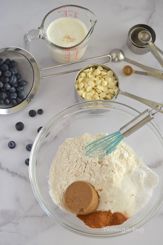 Ingredients shown for the scones