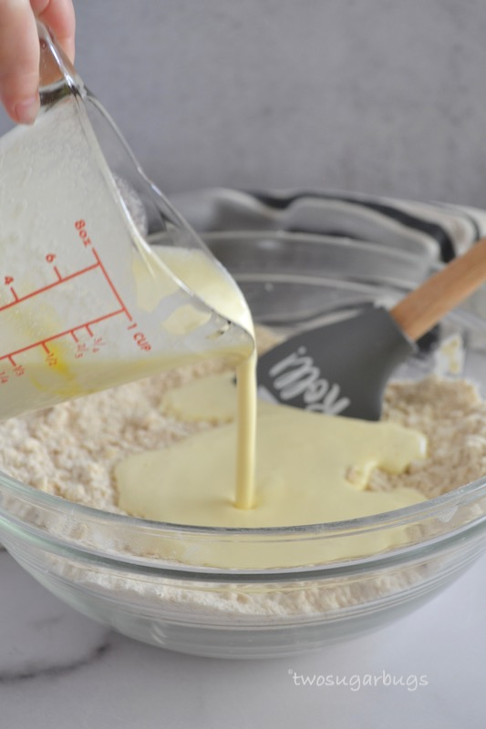 Cream and egg mixture poured into butter/dry ingredients