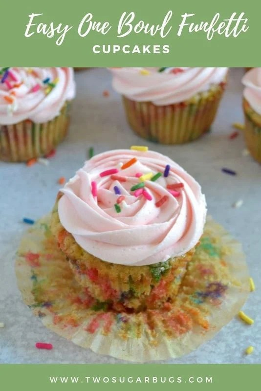 pinterest graphic for easy one bowl funfetti cupcakes