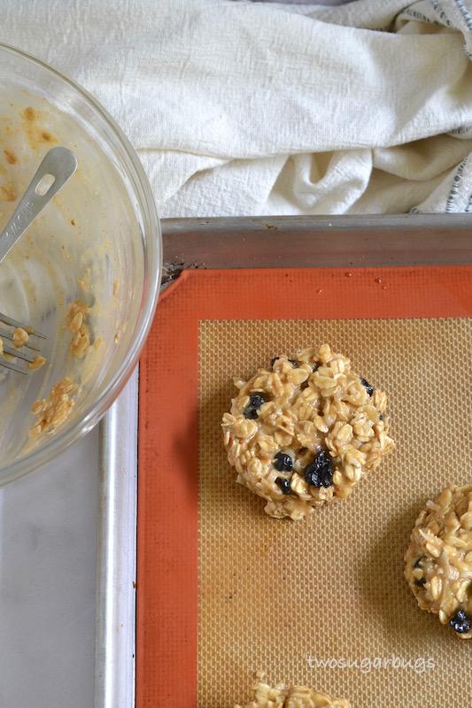 Healthy breakfast cookie batter on baking sheet