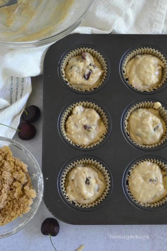 Overhead shot of muffin batter in muffin tin