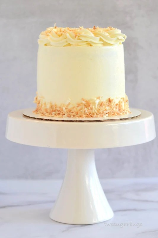 Perfect coconut cake on a cake stand