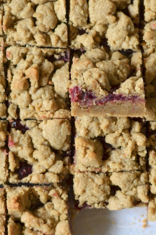 Up close overhead shot of sunbutter and jelly bars