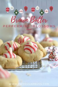 christmas pinterest graphic for brown butter peppermint blossoms