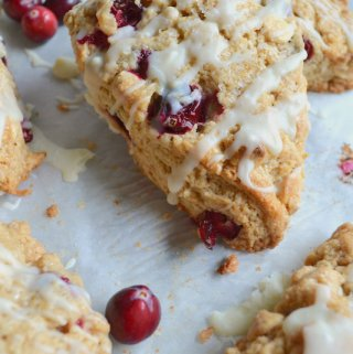 Up close photo of cranberry white chocolate scone