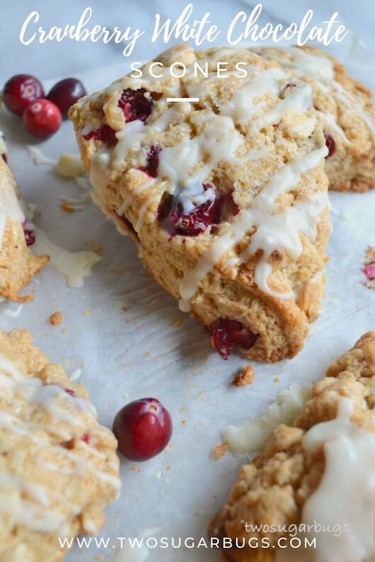 Cranberry White Chocolate Scones ~ The tartness of the cranberries and sweetness of the white chocolate pair with warm spices to make the most scrumptious scone recipe!  Perfect for brunch or holiday entertaining! ~ #twosugarbugs #cranberries #scones #brunch #holidaybaking