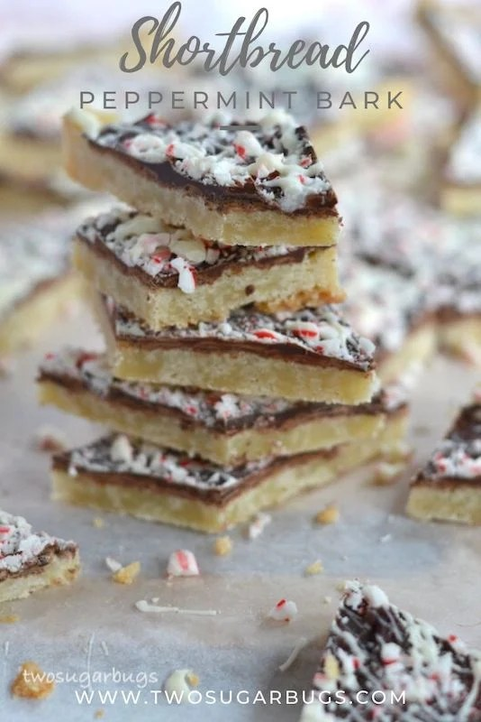 Shortbread Peppermint Bark ~ This easy bar cookie recipe combines an addictive shortbread cookie base with a peppermint bark topping.  Positively delicious and sure to be a hit on your holiday cookie trays! ~ #holidaybaking #christmascookies #christmasbaking #peppermintbark #twosugarbugs