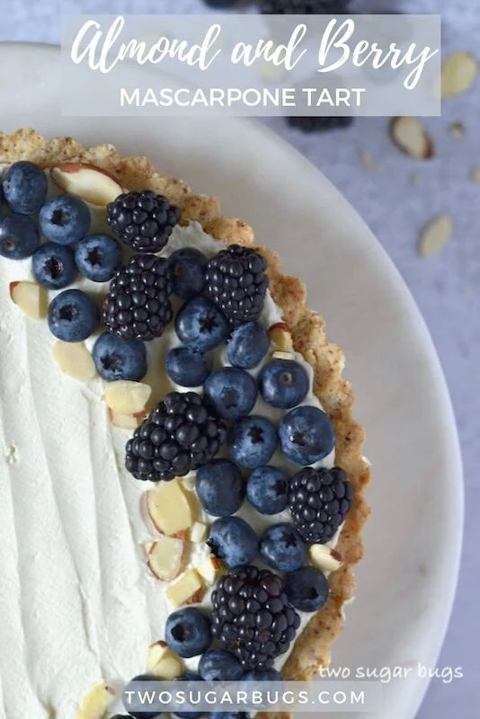 Almond Berry Mascarpone Tart ~ A creamy and light amaretto mascarpone filling in an almond shortbread crust.  Top with fresh berries for an easy, but elegant dessert. ~ #mascarponedessert #mascarponetart #mascarpone #twosugarbugs
