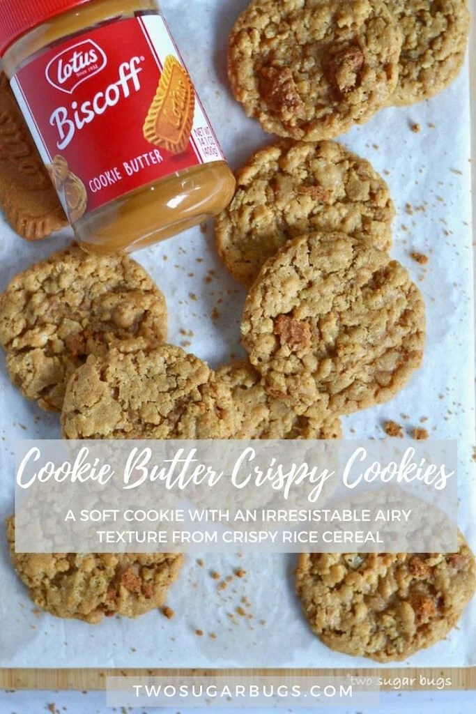 Cookie Butter Crispy Cookies ~ This cookie butter cookie recipe includes crispy rice cereal, which creates an irresistible texture!  The Biscoff flavor shines through in a soft cookie with an airy crunch that is a treat to bite into!  This dessert is perfect for all Biscoff and Speculoos fans. ~ #biscoff #cookiebutter #speculoos #cookierecipe #biscoffrecipe