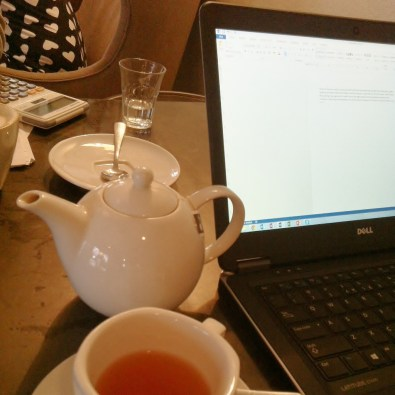 Working on blog stuff at a coffee shop.