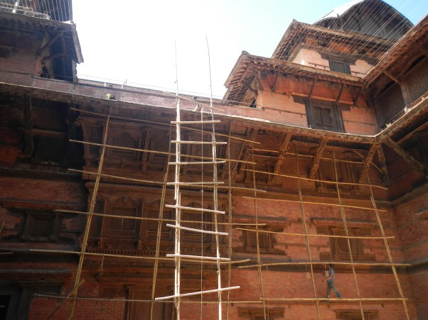 Bamboo scaffolding on a temple in Durbar square in Kathmandu. Scaffolding like this is all they use