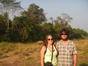 Rehabilitated rhino behind us