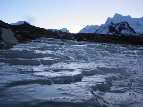 Stream crossing before sunrise