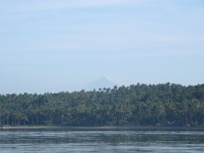 Mt. Mayon in the distance from the boat