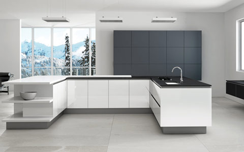 high gloss acrylic kitchen cabinets pan hanger doors - made to measure at trade prices