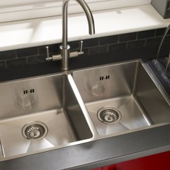Double Bowl Kitchen Sink Granite Set Stainless Steel Inset