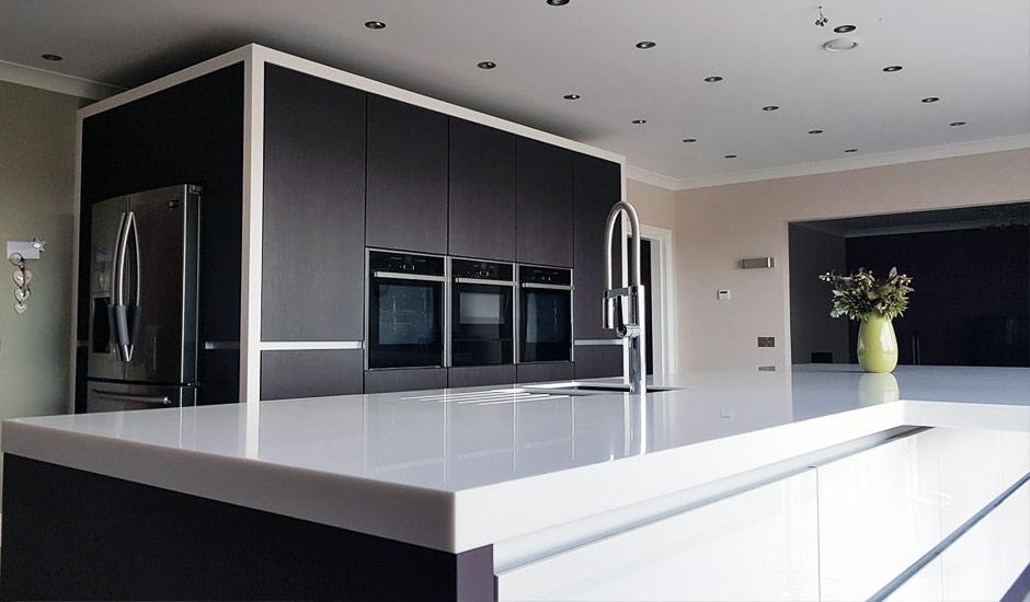 bi fold kitchen cabinet doors nook table modern installation in birmingham - white high ...