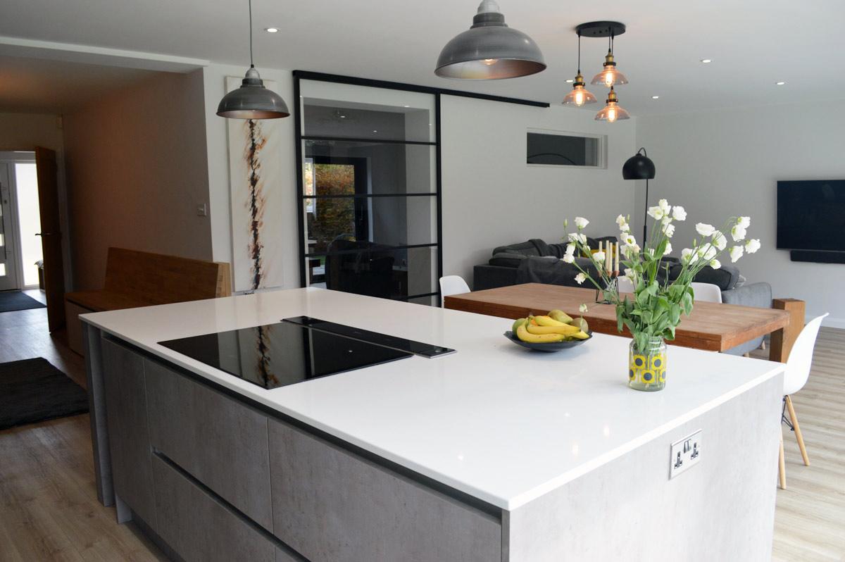german made kitchen cabinets swanstone sink modern installation in london - dark grey matt and ...
