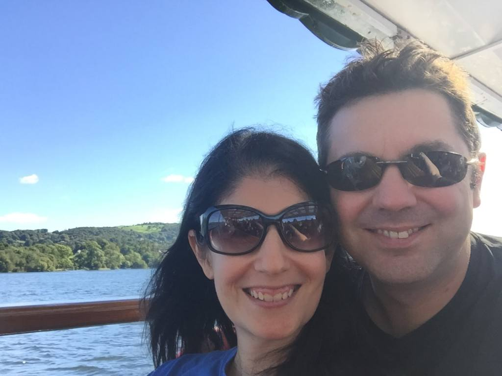 """Anisa and Russell on the Lake Windermere Cruise to Ambleside. - """"An Introduction to England's Lake District"""" - Two Traveling Texans"""