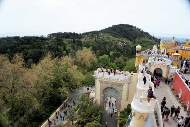 """The view from atop Pena Palace. - """"Pena Palace: Sintra's Fairytale Castle"""" - Two Traveling Texans"""