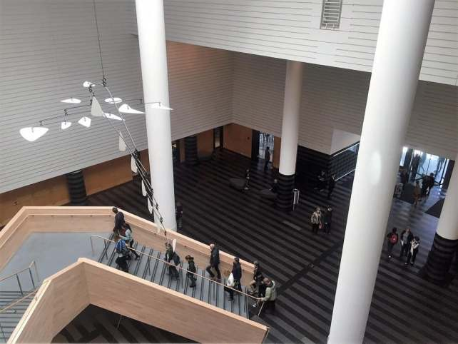 """Looking down on the SFMOMA lobby - """"SFMOMA: Modern Art in a New Setting"""" - Two Traveling Texans"""