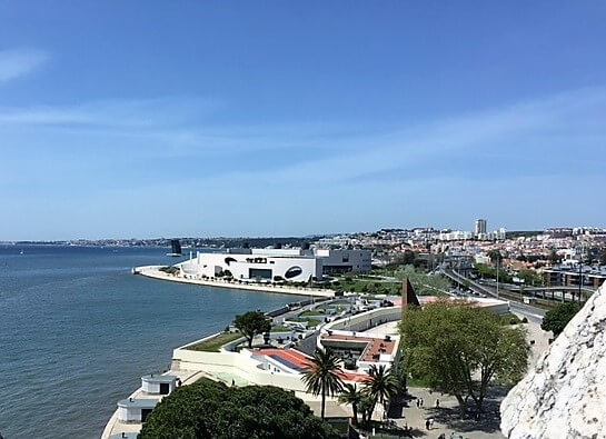 """The view from the top of Belem Tower looking west.- """"The Best Things to Do in Belem (Lisbon)"""" - Two Traveling Texans"""