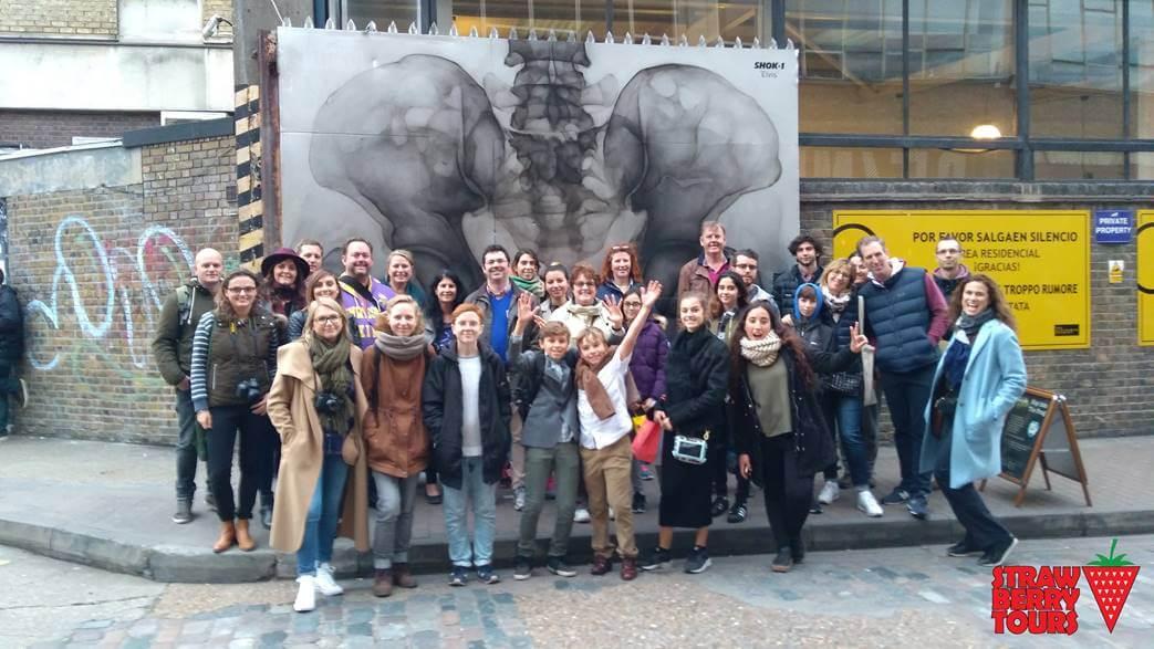 "Our Shoreditch Street Art Tour Group photo courtesy of Strawberry Tours ""Free Shoreditch Street Art Tour"" - Two Traveling Texans"