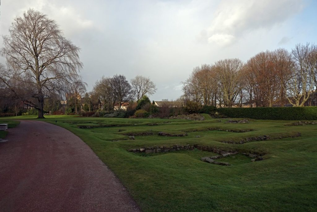 You can see some of the ruins of Holyrood Abbey under the grass in the Holyrood Gardens.-