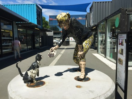A statue in Container City representing everyday live (that has to continue)