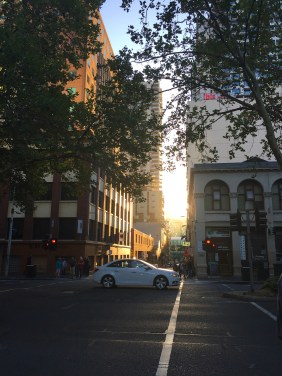Setting sun in the streets of the CBD