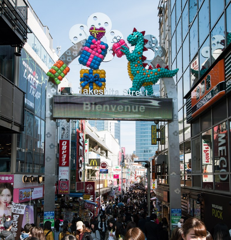 One of the main attraction in Harajuku: A crowded street with hundres of small shops