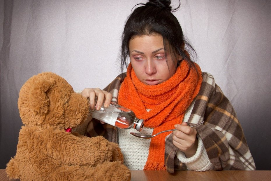 Sick woman with her Teddy Bear