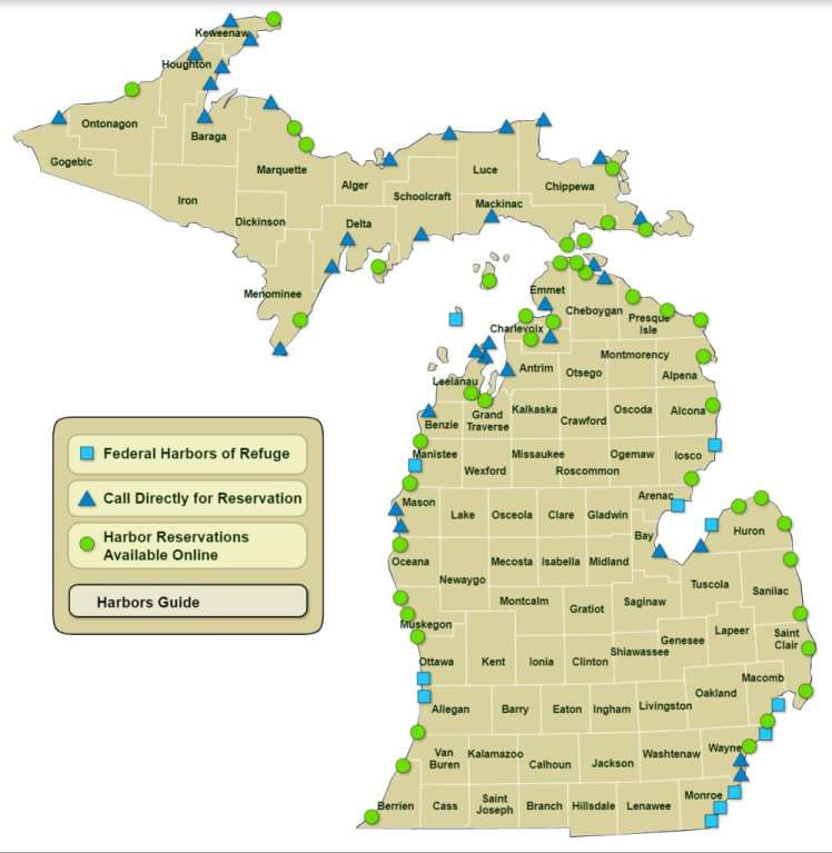 Michigan Harbors Map - Michigan Department of Natural Resources