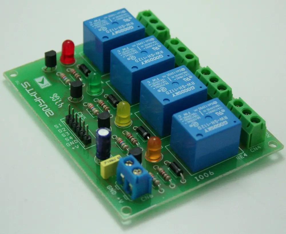 4 Channel Relay Board Using Sugar Cube Relay 12V & BC547