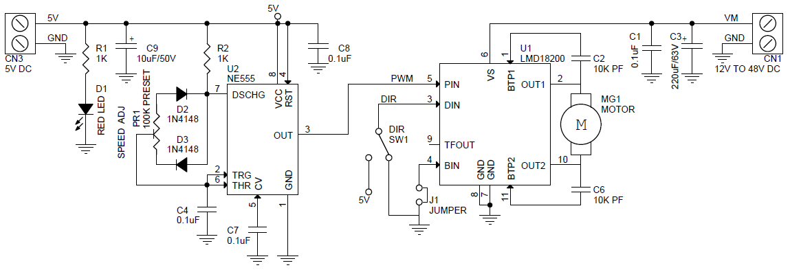 3Amps DC Motor Speed & Direction Controller Using LMD18201