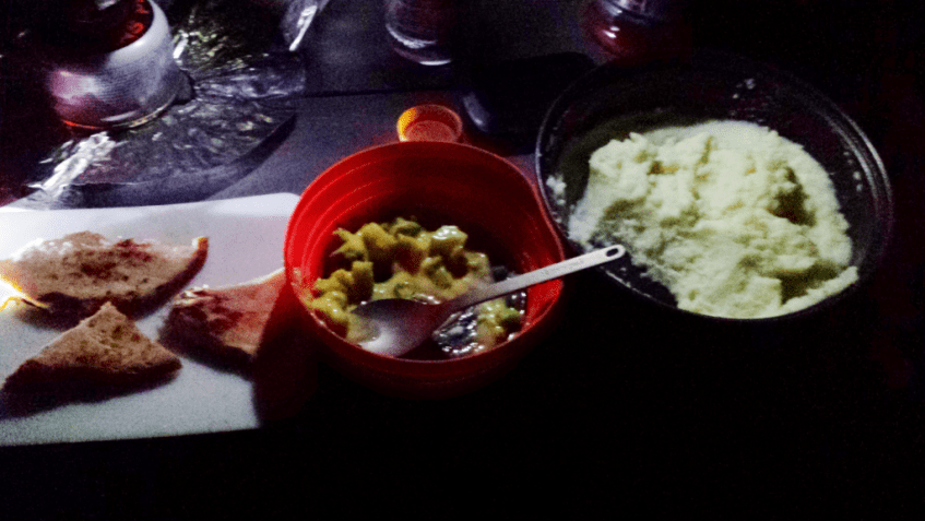 Tasty camp food in the dark.