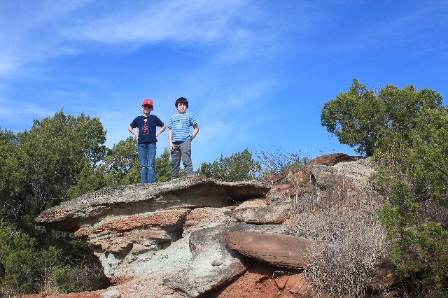 Copper Breaks State Park - Juniper Ridge Nature Trail - boys on the rock