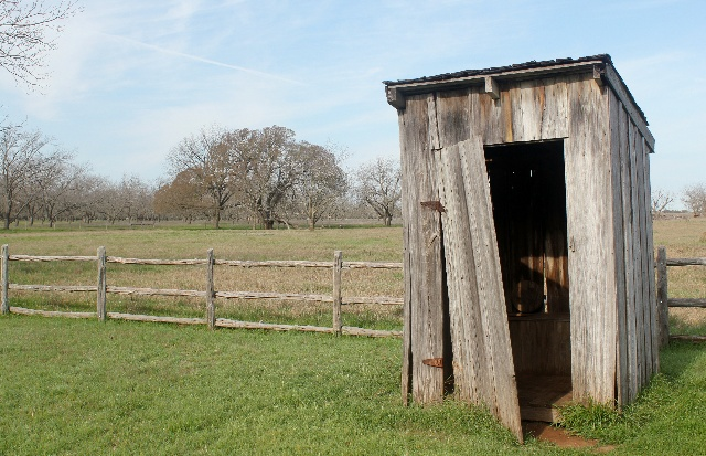 Visiting the Texas White House - Stonewall, TX - LBJ family outhouse - Two Worlds Treasures