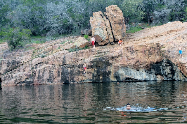 Jumping & swimming - Devil's Hole at Inks Lake State Park - Texas Hill Country - Two Worlds Treasures