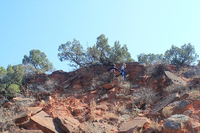 The boys had fun climbing the rocks at Caprock Canyons SP, TX.