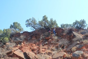 The boys had fun climbing the rocks at Caprock Canyons SP, TX.